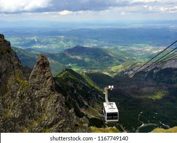 The cable car approaching to the summit of Kasprowy Wierch Mountain in Tatra Mountains, Poland
