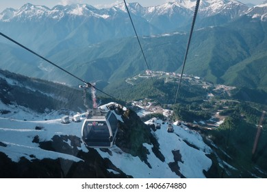 cable car for the ascent into the mountains Rosa Khutor, Russia, may 17