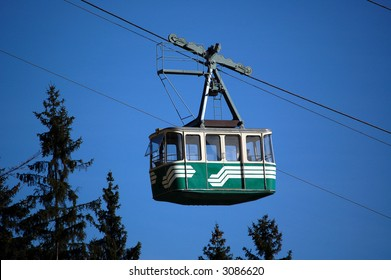 Cable car cabin with conductor in czech republic