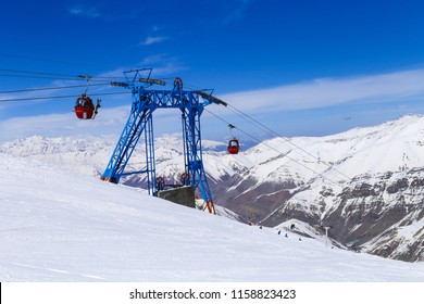 Cable car cabin in mountain of dizin during winter season at ski resort located north of Tehran, Dizin, Iran.