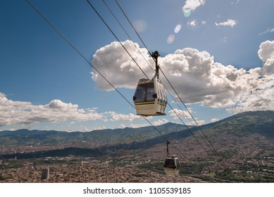 Cable car of the city of Medellin, popular public transport mode. Colombia