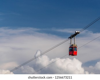 The cable car with clouds in the background captured in Lomnicky stit. High Tatras mountains, Slovakia