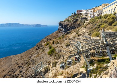 Cable Car Connecting The Fira Harbour With The Town in Santorini, Greece