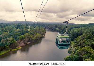 A cable car crossing a river in The Daintree National Park, QLD, Australia