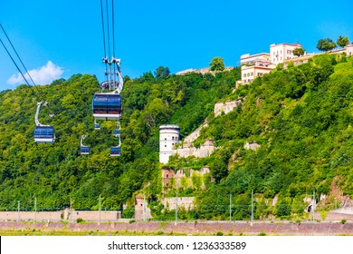Cable car to Ehrenbreitstein Fortress in the centre of Koblenz town in Germany