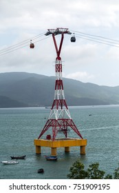 Cable car eiffel tower to Vin pearl Amusement Park Island cableway long rope road on water bay Nha Trang, Vietnam