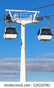 Cable car in Expo district, Lisbon, Portugal