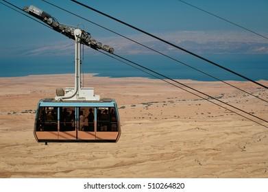 Cable car in fortress Masada, Israel. Dead sea on background. Funicular railway.