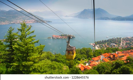 Cable car going downhill from the top of mount Mottarone, Stresa, Italy.