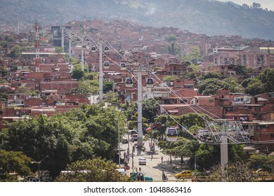 Cable car or gondola in Medellin, Colombia,. Public transport in Medellin is also a gondola, which takes you to the higher plains above the city and its slums.