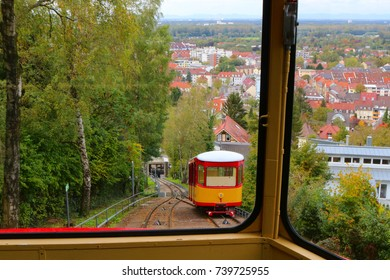 In a cable car in Karlsruhe, Germany