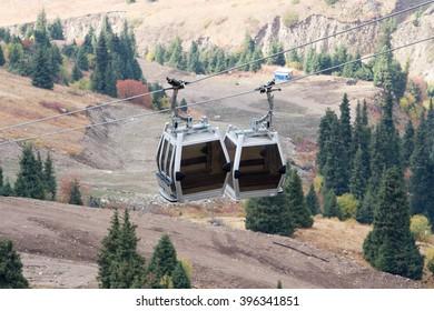 Cable car lift at alpine ski resort shimbulak in Kazakhstan