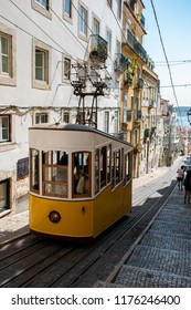 cable car in Lisboa on the top of a street