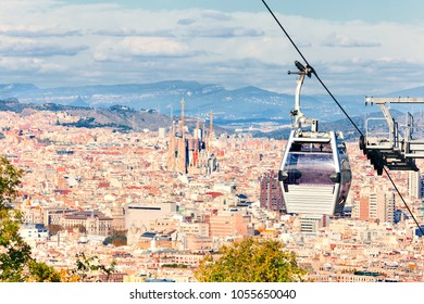 Cable car to Montjuic hill. Cityscape of Barcelona. Spain.