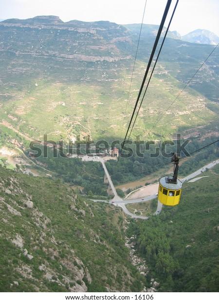 Cable car to Montserrat, Spain.