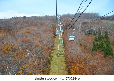 Cable car to Mount Moriyoshi with Autumn Color in Akita