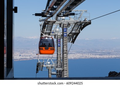Cable Car moving down to Antalya