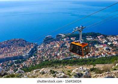 Cable Car moving down to Dubrovnik