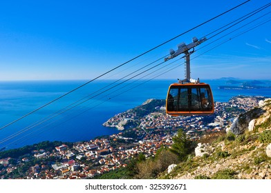 Cable Car Moving down from the Hill to Dubrovnik city center