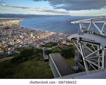 Cable car of Mt. Hakodate ropeway with cityscape view, Hakodate, Hokkaido, Japan