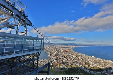 Cable car of Mt. Hakodate ropeway with cityscape view, Hokkaido, Japan