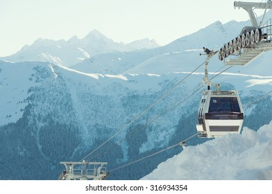 Cable car on background of mountains at ski resort Arkhyz