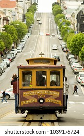Cable car on California St., San Francisco, California, USA, 4/10/2016. Classic view, symmetrical, vintage graphics.