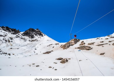 cable car on the snow mountains of the Dag glacier national park at Chengdu China