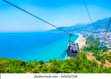 Cable car over Cleopatra beach in Alanya, Turkey. The cable car ride (funicular) to the top of the castle Alanya