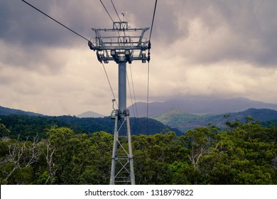 A cable car over rain forrest in the Daintree National Park in QLD Australia