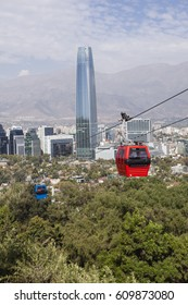 Cable car in Santiago of Chile. Cerro San Cristobal