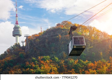 Cable car to Seoul N tower with blue sky and autymn season, Seoul city, South Korea