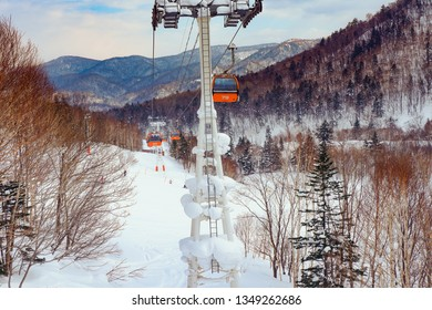 Cable car sky on snow mountain at Sapporo Kokusai, Hokkaido, japan.