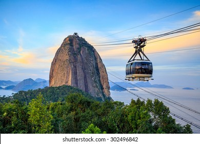 Cable car and  Sugar Loaf mountain in Rio de Janeiro