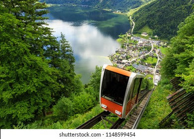 A cable car taking visitors up to Salzwelten, Hallstatt, Austria; one of the oldest salt mines in the world.