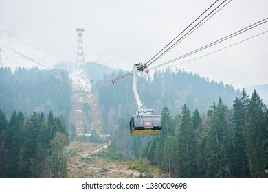 Cable car to top of Germany in Winter, Cable car to top of Zugspitze, top of Germany, transportation to top mountain of Zugspitze, April 15, 2019, Zugspitze, Germany