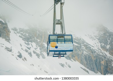 Cable car to top of Zugspitze in Germany, top of Germany, transportation to top mountain of Zugspitze