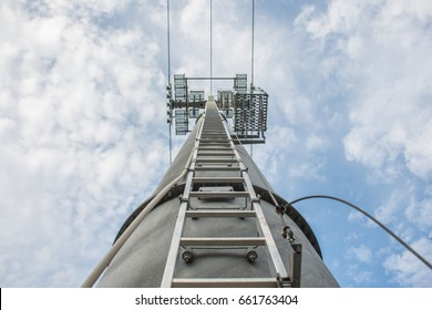Cable car tower and sky background