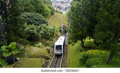 Cable car car or tram uphill in Bukit Bendera, Penang Malaysia