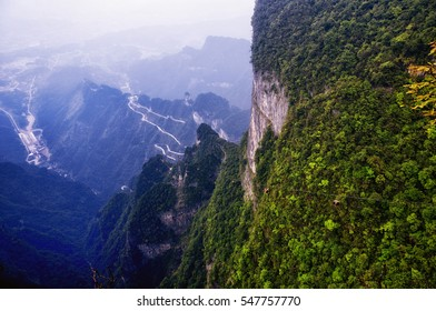 The cable car traveling up to the summit of Tianmen shan in zhangjiajie city in Hunan province.