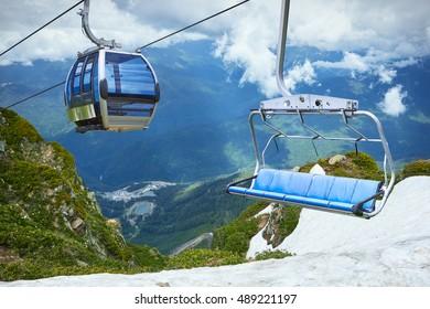 Cable car View of Mountain, ski resort Rosa Khutor in Krasnaya Polyana, Sochi, Russia