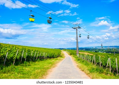 Cable car and vineyards in Rudesheim am Rhein town in the Rhine Valley, Germany