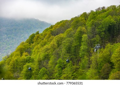 Cable car way from Rosa Khutor to mountain peak, colorful green gondolas of a ropeway travel above a dense forest. High-altitude landscape from Sochi, Russia.