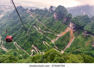 cable car with winding and curves road in  Tianmen mountain zhangjiajie national park, Hunan province, China.