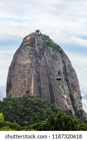 Cable cars going to the summit of Sugar Loaf Mountain or Pao de Acucar, in Rio de Janeiro, Brazil, South America