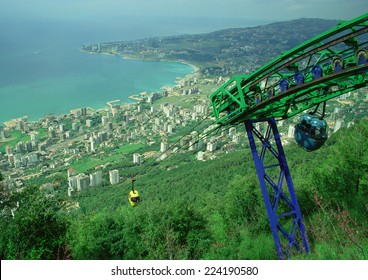 Cable cars overlooking Jounieh, Lebanon