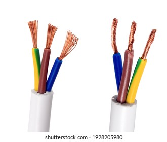 Cable Electrical power wire copper isolated on white background. Electric cable multi-colored installation