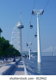 cable ferry in former expo 98 parquexpo in lisbon, portugal