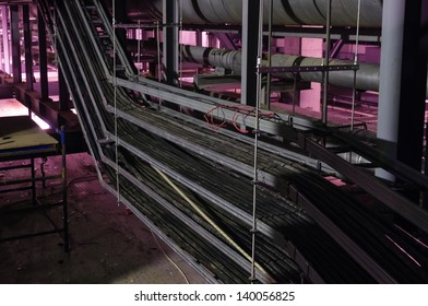 Cable ladders with cables  in an industrial building