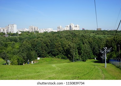 Cable lift on the hill in Bitsevsky park in Moscow, Russia